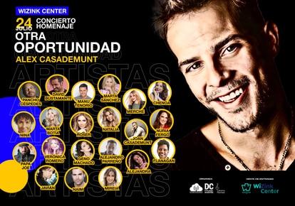 Cartel del concierto en homenaje a Àlex Casademunt que se celebrará el 24 de julio de 2021 en Madrid.