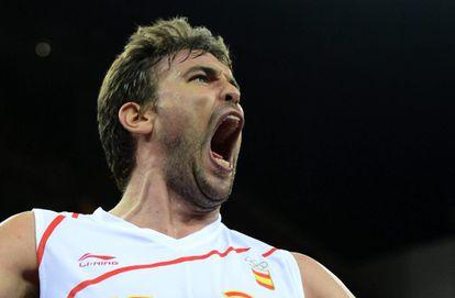 Marc Gasol celebra el triunfo ante Rusia.
