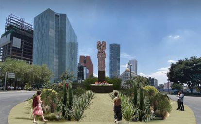La escultura 'La joven de Amajac', que será colocada en el lugar donde se encontraba la estatua de Cristóbal Colón, en Paseo de la Reforma.