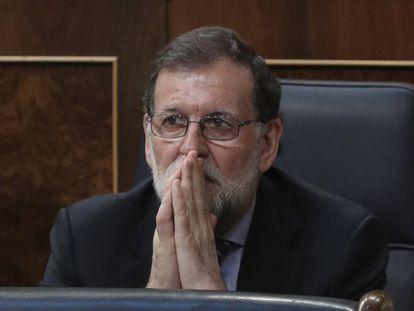 Mariano Rajoy, en el Congreso, antes de la votación de los Presupuestos.