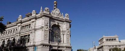 Fachada del edificio del Banco de España en la plaza de Cibeles, en Madrid.