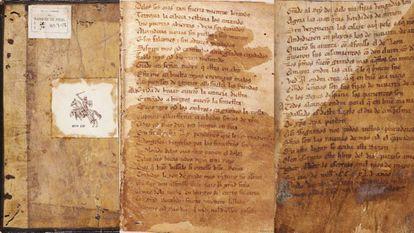 Páginas del códice del 'Cantar de Mío Cid', del siglo XIV.