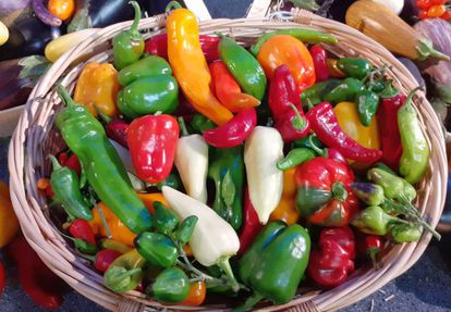 A basket with peppers.  ILAN PARAN