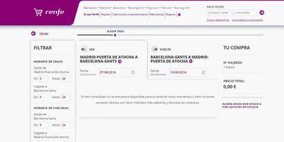 Aviso en la página web de Renfe al intentar comprar un billete del AVE Madrid-Barcelona para el mes de junio.