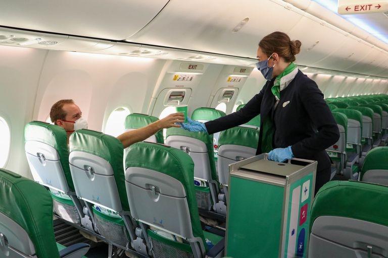 Interior de avión de la compañía Transavia.