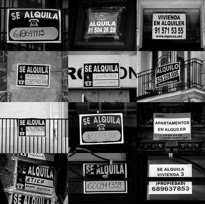 Carteles de alquiler de viviendas en Madrid.