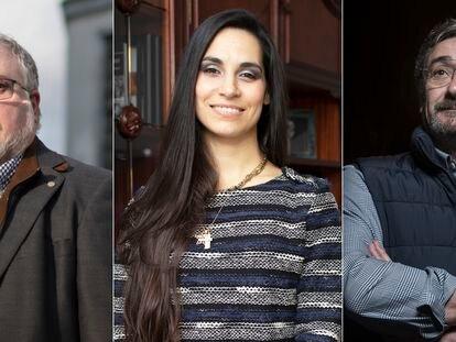 Miguel Ángel Castro, Estrella Álvarez y Ángel Aguilera (de izquierda a derecha), tres afectados por los vaivenes del mercado laboral provocado por el coronavirus.