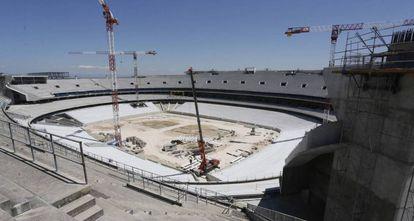 Obras del estadio Metropolitano, en San Blas, el pasado diciembre.