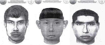 Los tres retratos de los sospechos de los ataques al casino de Monterrey.