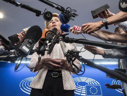 Ursula von der Leyen, el pasado 3 de julio al Parlamento  de Estrasburgo.