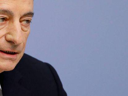 Mario Draghi, presidente del BCE, en la rueda de prensa tras el Consejo de Gobierno del jueves en Fráncfort (Alemania)