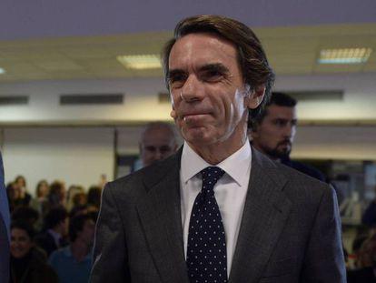 El expresidente del Gobierno José María Aznar llega a la Universidad Francisco de Victoria, el pasado 4 de noviembre.