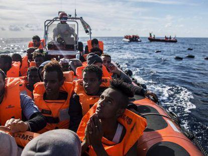 Imagen de archivo de un rescate de Open Arms en el Mediterráneo.