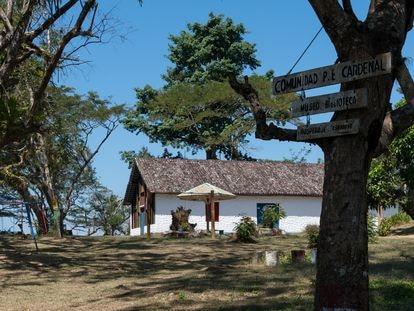 Iglesia de la isla Mancarrón, localizada en el archipiélago de Solentiname, en Nicaragua.