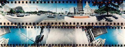 """Fotografía de la plaza madrileña de Colón. Todas las fotografías de este reportaje han sido tomadas con la cámara analógica <a href=""""http://microsites.lomography.es/spinner-360/"""" target=""""_blank"""">Spinner 360 de Lomo</a> ."""