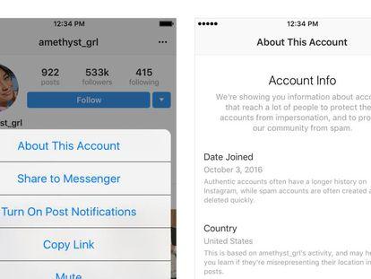 Ejemplo de información sobre las cuentas que hará publica instagram.