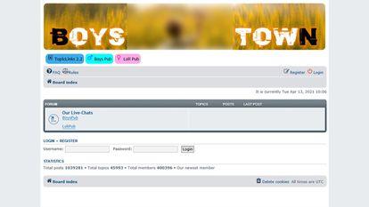 Imagen de la página de Boystown suministrada por la Policía Criminal Federal alemana.
