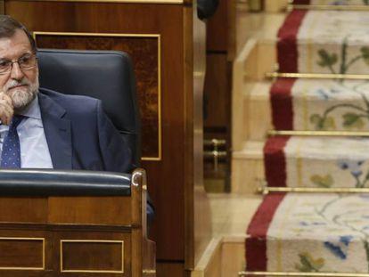 El presidente español, Mariano Rajoy, en el congreso de los diputados el 25 de abril de 2018.