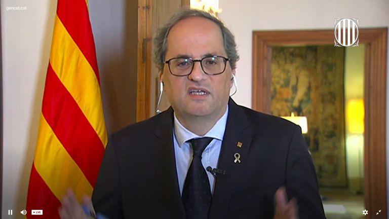 El presidente de la Generalitat, Quim Torra, en rueda de prensa telemática con medios internacionales.