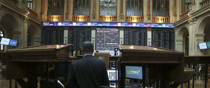 Imagen de Bolsa de Madrid el pasado jueves, tras su apertura.