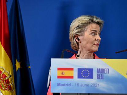 Ursula von der Leyen, durante su comparecencia conjunta con Pedro Sánchez, en la sede de Red Eléctrica de España, tras la reunión mantenida el miércoles.