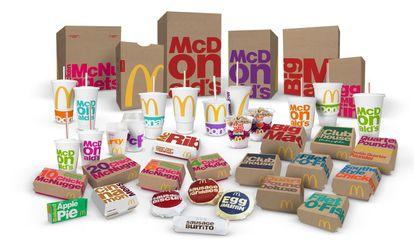 En 2016 desapareció todo rastro de comida de los envases. En su lugar se cubrieron con los nombres de los platos escritos en tipografías que cambiaban de tamaño para dar la sensación de dinamismo.