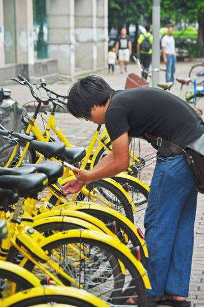 Un usuario desbloquea con el móvil una bicicleta Ofo en Shanghái.