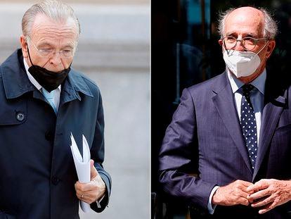 El expresidente de CaixaBank Isidro Fainé (a la izquierda) y el presidente de Repsol, Antonio Brufau, este lunes.