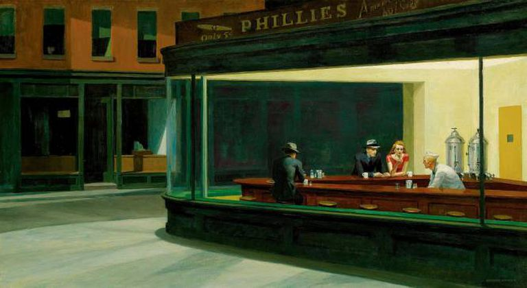 La obra de Hopper 'Los noctámbulos'.
