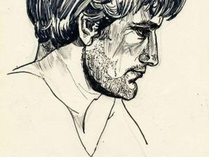 Retrato de Ted Hughes en el libro que ahora ve la luz.