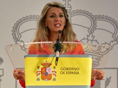 La vicepresidenta segunda y ministra de Trabajo y Economía Social, Yolanda Díaz, en Vitoria-Gasteiz el pasado septiembre.