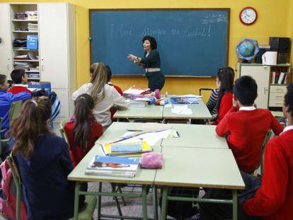 Una clase en el colegio Vasco Núñez de Balboa de Madrid.