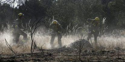 Bomberos de la Comunidad de Madrid trabajan en el incendio declarado en Valdemorillo a principios de julio.