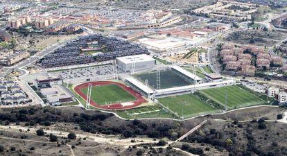 Fotografía aérea de Las Rozas con la Ciudad del Fútbol en primer término.