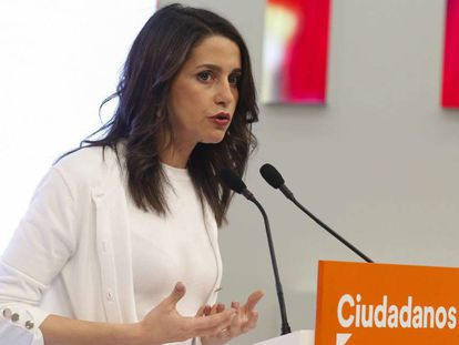 Inés Arrimadas, este lunes en la sede madrileña de Ciudadanos.