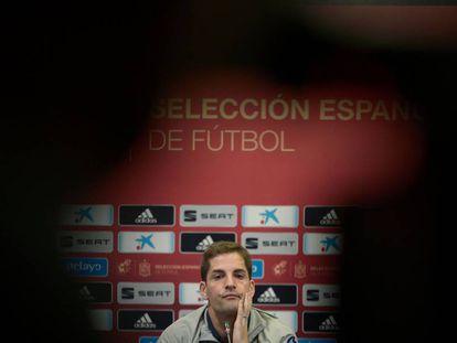 Robert Moreno, en la sala de prensa del Carranza después del España-Malta.