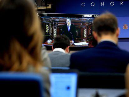 Sala de prensa en el Congreso de los Diputados, durante la intervención de Pedro Sánchez.