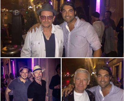 Los miembros de U2, Bono, The Edge y Adam Clayton, posan con los socios del restaurante al que fueron.