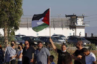 Protesta palestina, el sábado ante la prisión israelí de Gilboa.