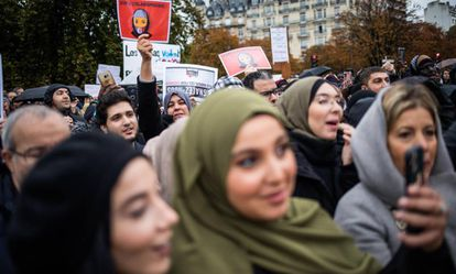 Protesta contra la islamofobia, el pasado domingo en París.