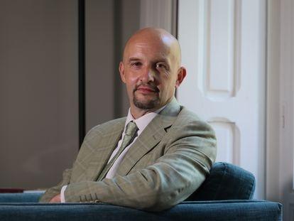 Janis Sarts, director del Centro de Comunicaciones estratégicas de la OTAN, el 5 de julio de 2021 en la Embajada de Letonia en Madrid.