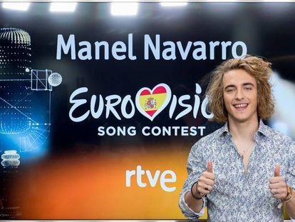 Manel Navarro en la conferencia de prensa que se celebró en Rtve el 13 de febrero.