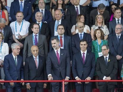 El Rey, Pedro Sánchez y Quim Torra en el palco de autoridades