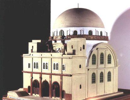 Maqueta de la sinagoga Hurva empleada en la reconstrucción de la que será reabierta en la ciudad vieja de Jerusalén el próximo 15 de marzo.