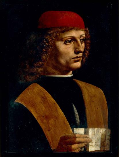 Este retrato de un músico, atribuido a Leonardo da Vinci, podría serlo de Josquin Desprez, ya que ambos, coetáneaos casi exactos, coincidieron en Milán en la fecha en que fue pintado el retrato (ca. 1485).