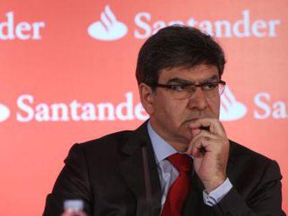 El consejero delegado del Banco Santander, José Antonio Álvarez, durante la presentación de resultados del primer trimestre.