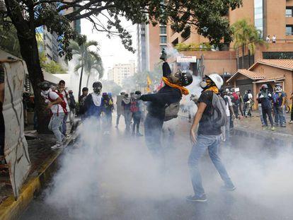 Protestas este jueves en Caracas.