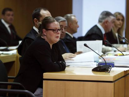 Beatriz L.D., en el primer día del juicio en la Audiencia Provincial de Madrid.