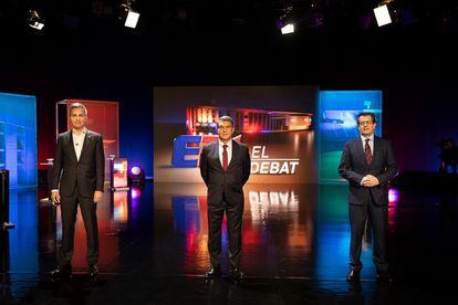 Font, Laporta y Freixa, en el debate electoral de TV3, en una imagen de la cadena.