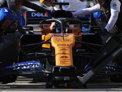 El McLaren de Carlos Sainz, durante una sesión de entrenamiento a finales del año pasado.